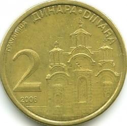 Монета > 2динара, 2006-2010 - Сърбия  - reverse