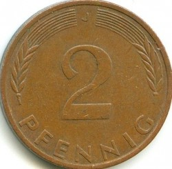 Coin > 2 pfennig, 1974 - Germany  - reverse
