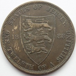 Coin > 1/12 shilling, 1877-1894 - Jersey  - obverse
