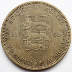 Moeda > 1/12shilling, 1909 - Jersey  - reverse