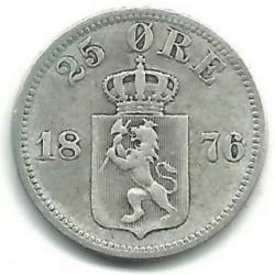 Moneta > 25erės, 1876 - Norvegija  - obverse