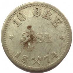 سکه > 10اوره, 1874-1875 - نروژ  - reverse