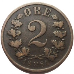 Coin > 2 ore, 1876-1902 - Norway  - reverse