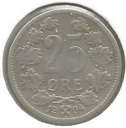 Coin > 25 ore, 1896-1904 - Norway  - obverse