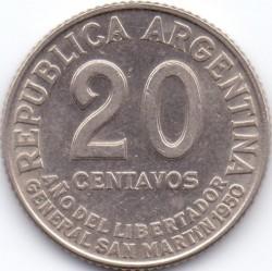 Pièce > 20centavos, 1950 - Argentine  (Cuivre-Nickel / couleur grise /) - reverse