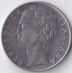 Coin > 100 lire, 1975 - Italy  - obverse