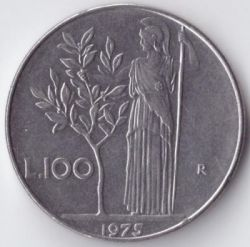 Coin > 100 lire, 1975 - Italy  - reverse