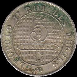 "Moneda > 5centimes, 1894-1901 - Bèlgica  (Llegenda en francès -  ""DES BELGES"") - reverse"
