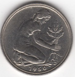 Coin > 50 pfennig, 1950 - Germany  - reverse