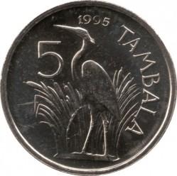 Монета > 5тамбал, 1995 - Малави  (Герб на аверсе) - reverse