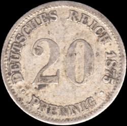 Монета > 20пфеннигов, 1873-1877 - Германия  - reverse