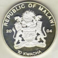 Monedă > 10kwacha, 2004 - Malawi  (Endangered Wildlife - Leopard) - obverse