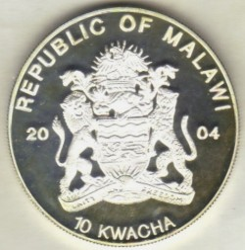 Monedă > 10kwacha, 2004 - Malawi  (Endangered Wildlife - Leopard) - reverse