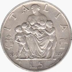 Moneta > 5liros, 1936-1937 - Italija  - reverse