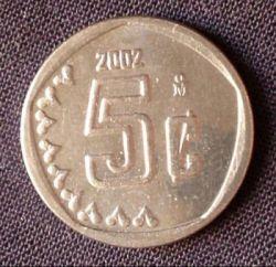 Coin > 5centavos, 2002 - Mexico  - obverse
