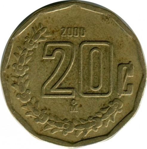 C701 1984 Mexico 20 Centavos Olmec Culture 2 year  KM 491