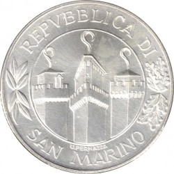 Moneda > 5.000lire, 2001 - San Marino  (1700è Aniversari de l'Independència ) - obverse