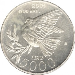 Moneda > 5.000lire, 2001 - San Marino  (1700è Aniversari de l'Independència ) - reverse