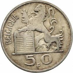 "Minca > 50francs, 1948-1954 - Belgicko  (Názov vo francúzštine - ""BELGIQUE"") - reverse"