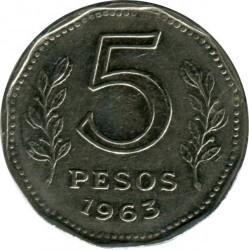 Pièce > 5pesos, 1961-1968 - Argentine  - reverse