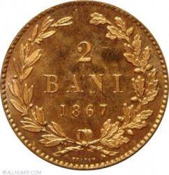 מטבע > 2באני, 1867 - רומניה  - obverse