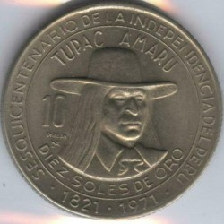 Moneta > 10soles, 1971 - Perù  (150° anniversario - Indipendenza) - obverse