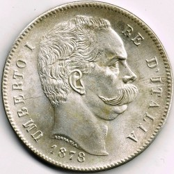 سکه > 5لیره, 1878-1879 - ایتالیا  - obverse