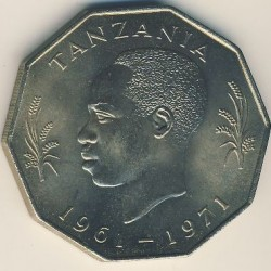 Coin > 5 shillings, 1971 - Tanzania  (10th Anniversary of Independence) - obverse
