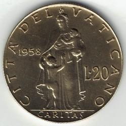 Moneta > 20lirów, 1957-1958 - Watykan  - reverse