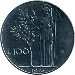Coin > 100 lire, 1973 - Italy  - reverse