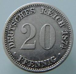 Кованица > 20фенинга, 1873-1877 - Немачка  - reverse