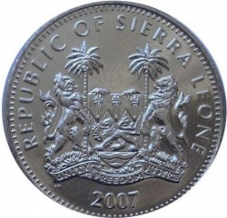 Moneta > 1dolar, 2007 - Sierra Leone  (Zwierzęta - Słoń) - obverse