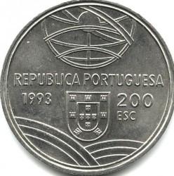 Moneta > 200escudo, 1993 - Portugalia  (Espingarda - Mechaniczne urządzenie strzeleckie ) - obverse