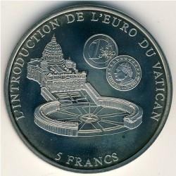 Монета > 5франка, 2002 - Конго - КДР  (Introduction of the Euro in the Vatican) - reverse