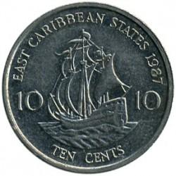 Moeda > 10cêntimos, 1981-2000 - Estados do Caribe Oriental  - reverse