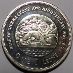 Monēta > 1leone, 1974 - Sjerraleone  (10th Anniversary of the Central Bank) - reverse