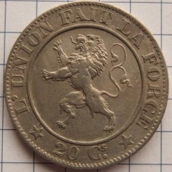 Munt > 20centimes, 1860-1861 - Belgie  - reverse