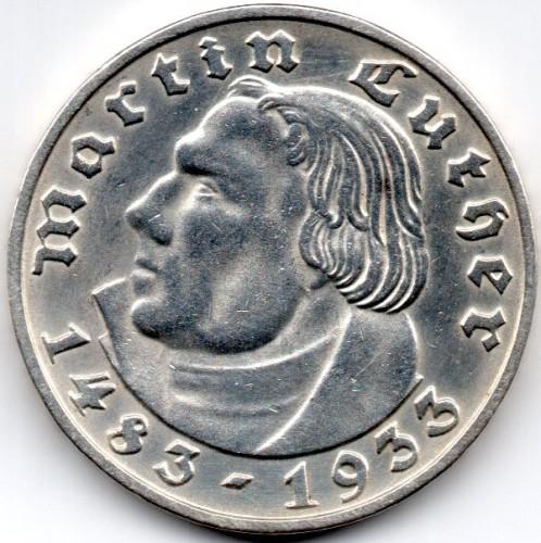 2 Reichsmark 1933 Martin Luther Deutschland Drittes Reich