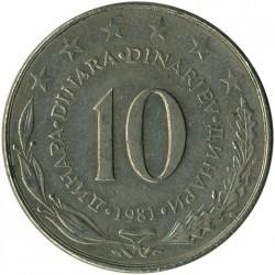Moneda > 10dinares, 1981 - Yugoslavia  - obverse