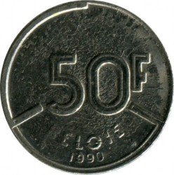 Mynt > 50 francs, 1987-1993 - Belgia  (Legend in Dutch - 'BELGIE') - obverse