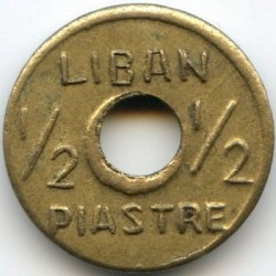 Кованица > ½пиастра, 1941 - Либан  (Shape - Round with a Hole) - obverse