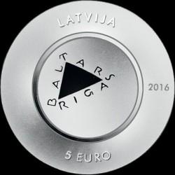 "Coin > 5euro, 2016 - Latvia  (""Baltars"", Porcelain) - obverse"