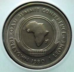 Moneta > 1leone, 1980 - Sierra Leone  (Conferenza al vertice dell'Organizzazione dell'unità africana) - reverse
