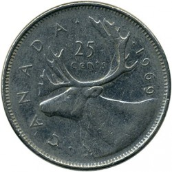 Coin > 25 cents, 1969 - Canada  (Nickel /magnetic/) - reverse