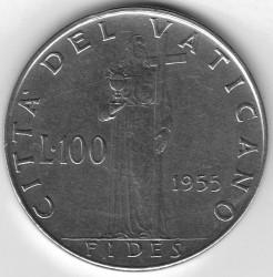 Mynt > 100lire, 1955-1958 - Vatikanstaten  - obverse