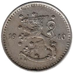 Münze > 1Mark, 1940 - Finnland  (Copper-Nickel /gray color/) - reverse