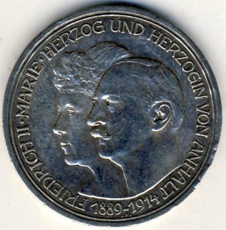Anniversario Matrimonio Tedesco.3 Marchi 1914 Federico Ii E Maria Di Baden Impero Tedesco