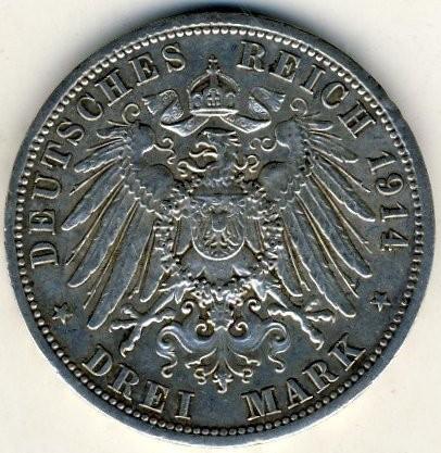 3 Mark 1914 Friedrich Ii Und Marie Von Baden Deutsches