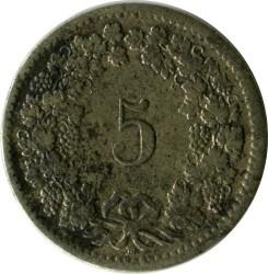 Moneda > 5céntimos, 1850-1877 - Suiza  - reverse