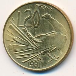 Moneda > 20liras, 1981 - San Marino  (Paix) - reverse